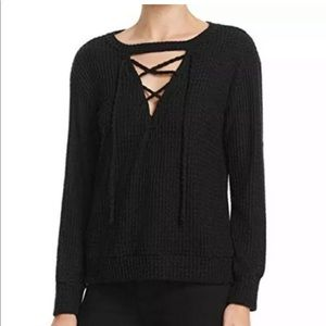 LNA Laced Waffle Thermal Sweater Top Black NWT